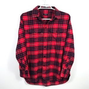 Madewell XS Flannel Cargo Workshirt Red Plaid